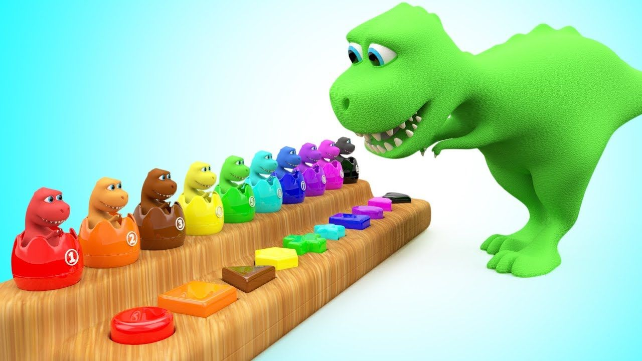 Learn Colors, Numbers and Shapes for children with Dinosaur Surprise ...