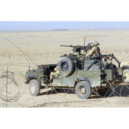 Gurkhas patrol Afghanistan in a Land Rover Canvas Art - Andrew ChittockStocktrek Images (17 x 12)