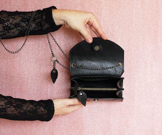 0789fc3da4616 Black leather bag small purse black leather handbag Dalfia women unique leather  bags