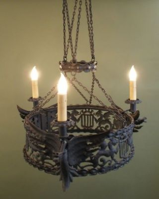 Spanish Revival Wrought Iron Hanging Chandelier With 3 Figural Dragon Light Candle Holders