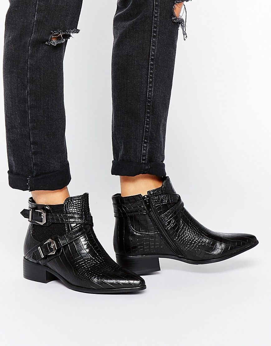 Buy Women Shoes / Glamorous Black Strap Chelsea Flat Ankle Boots