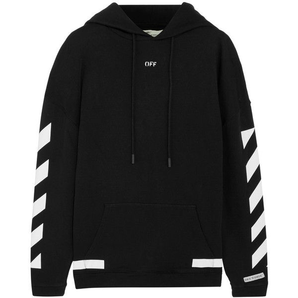 06a67de0 Off-White Oversized printed cotton-jersey hooded top ($470) ❤ liked on  Polyvore featuring tops, hoodies, black, off white top, cotton jersey and  oversized ...