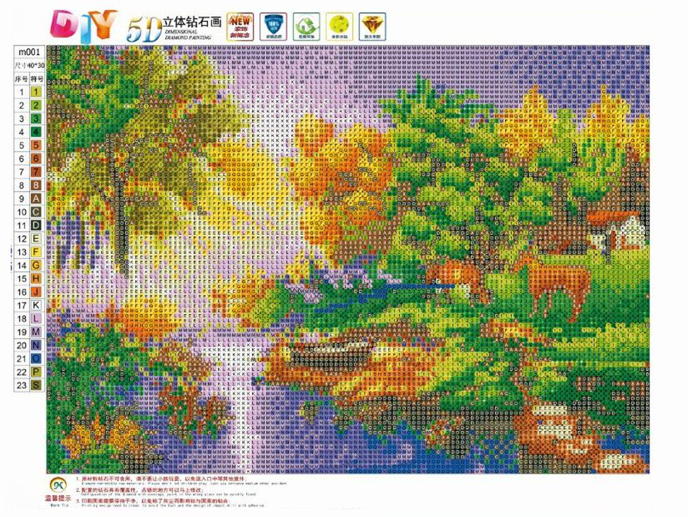 DIY 5D Diamond Painting by Number Kits Full Round Drill Rhinestone Cross Stitch Picture Craft for Home Wall Decor 12x16In Riverside Scenery