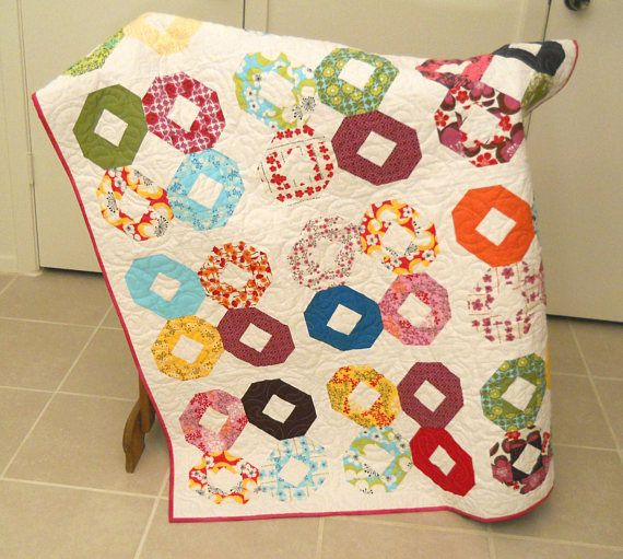 Modern Lap Quilt Sofa Quilted Throw Bright Patchwork Quilt Handmade