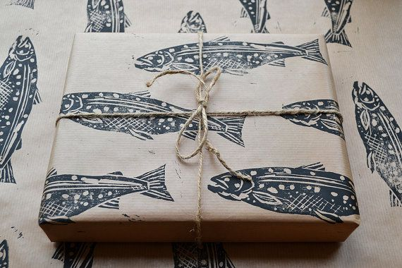 Hand Printed Fish Gift Wrap. #SquidWhaleDesigns #NauticalJuly
