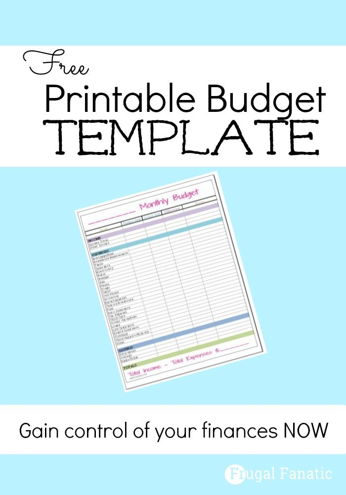 Free Monthly Budget Template | Listen von Urlaub bis putzen ...