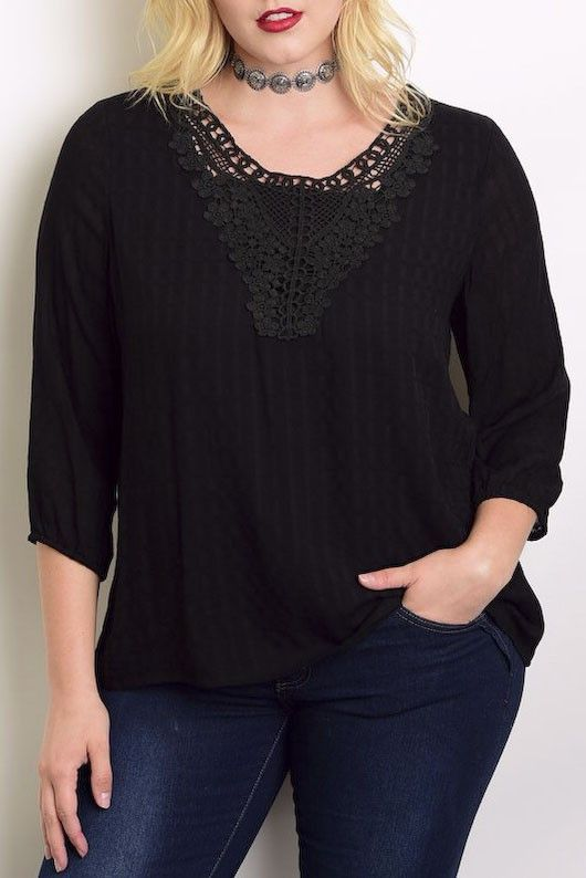 3/4 Sleeves Crochet Front Blouse
