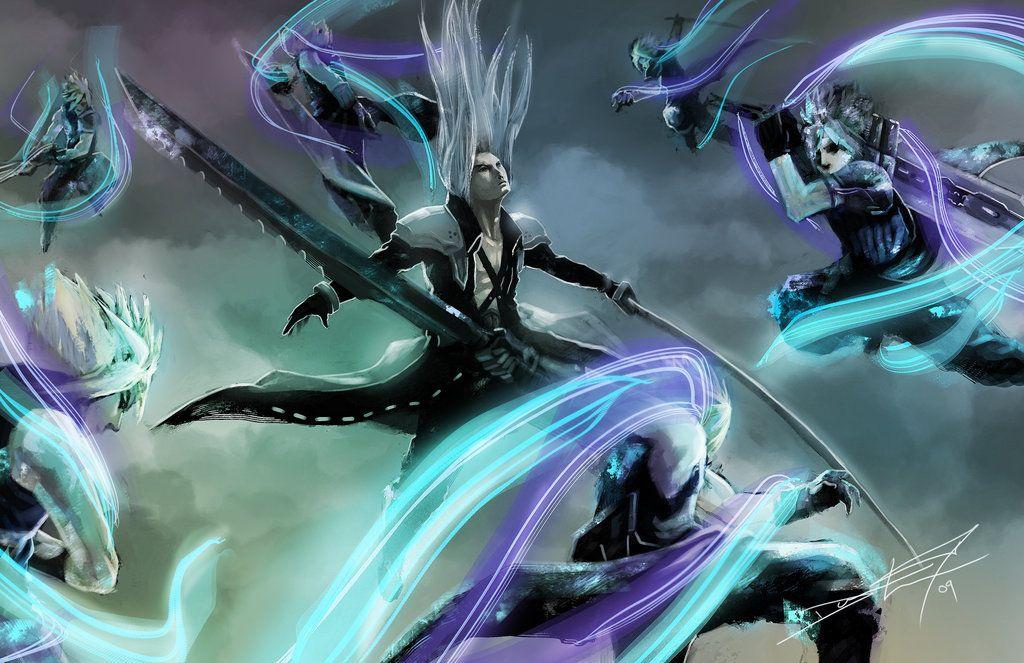 Sephiroth and Cloud Strife. Fan art. Final Fantasy VII