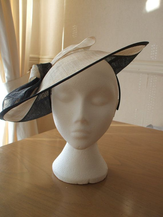 5ca03ad814852 Large Black and Cream Saucer Sinamay Fascinator by joannelamacraft, £45.00