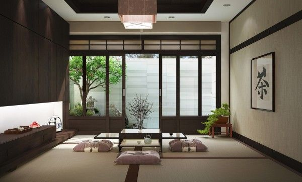 Modern japanese house architecture shapes and lines and natural woods and fibers would choose lighter woods and not yellow faux leather furniture