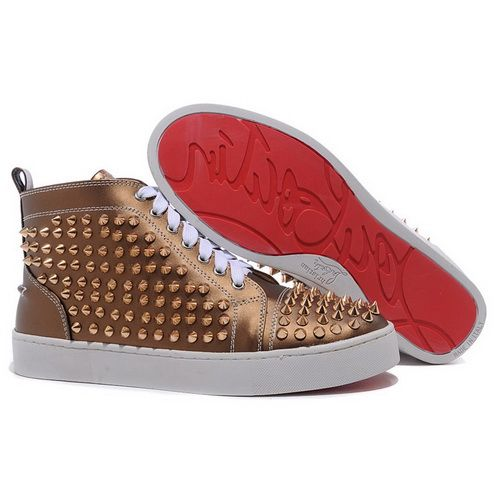 Christian Louboutin Spikes Mens Shoes Louis Red Bottom High Tops Sneakers  Tan Patent Leather
