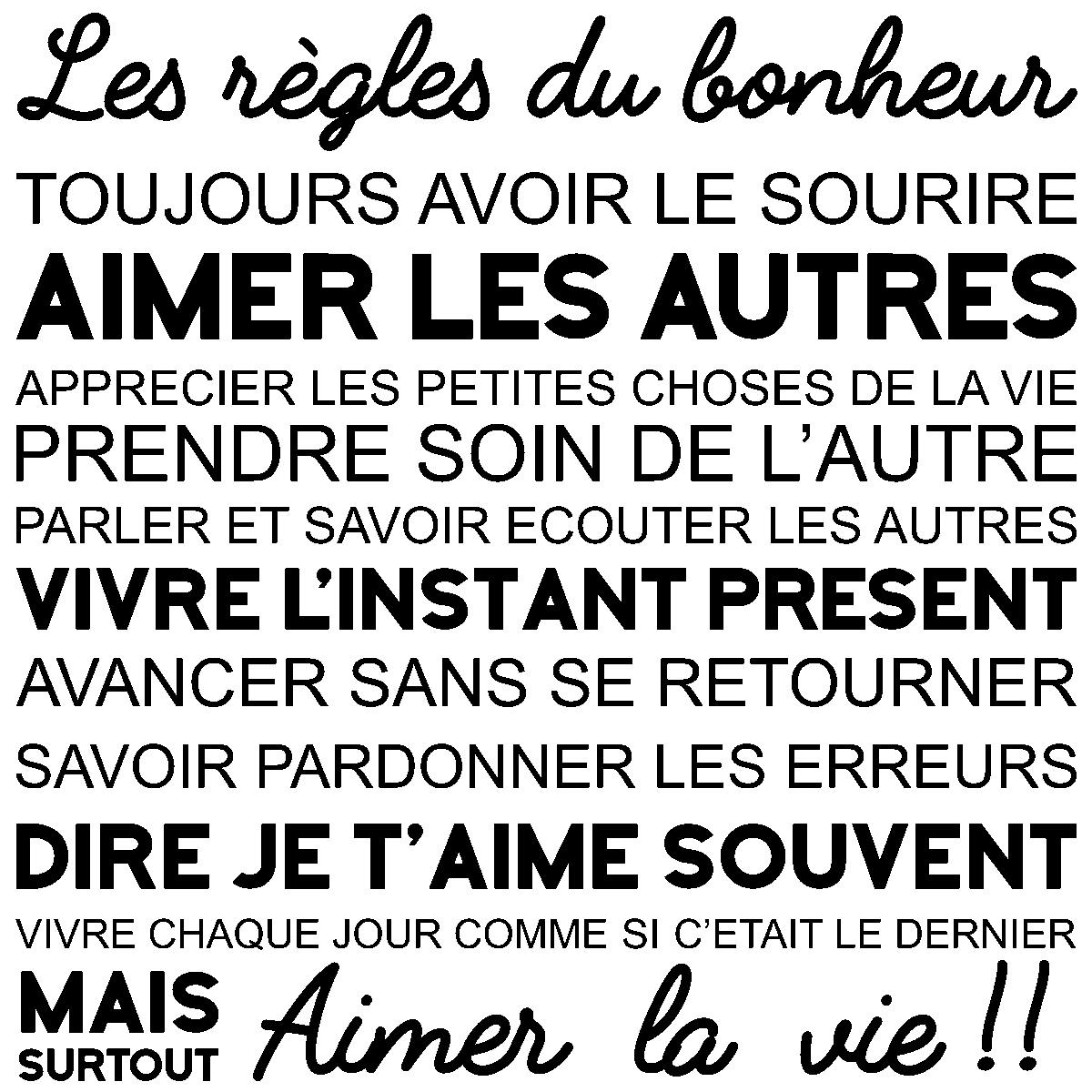 stickers muraux citations sticker les r gles du bonheur citations pinterest bonheur. Black Bedroom Furniture Sets. Home Design Ideas
