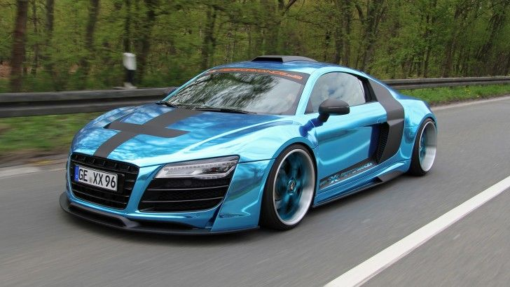 Blue Audi R8 On The Road