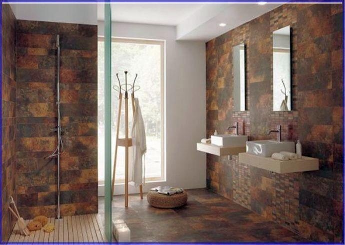 Cork Wall Covering Bathroom Shower Design Brown Tile Bathroom Modern Bathroom