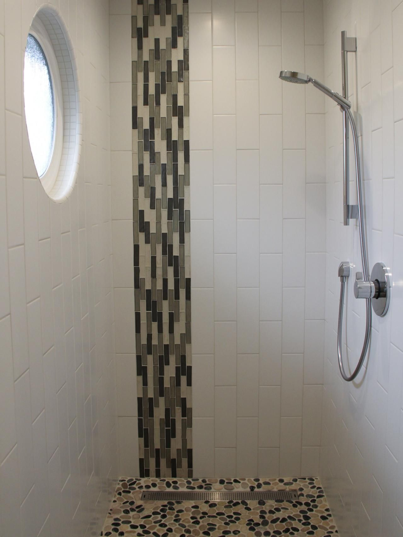 vertical white ceramic glass tile shower room wall panel with rounded glass window plus black and gray glass mosaic accent likeable shower designs with