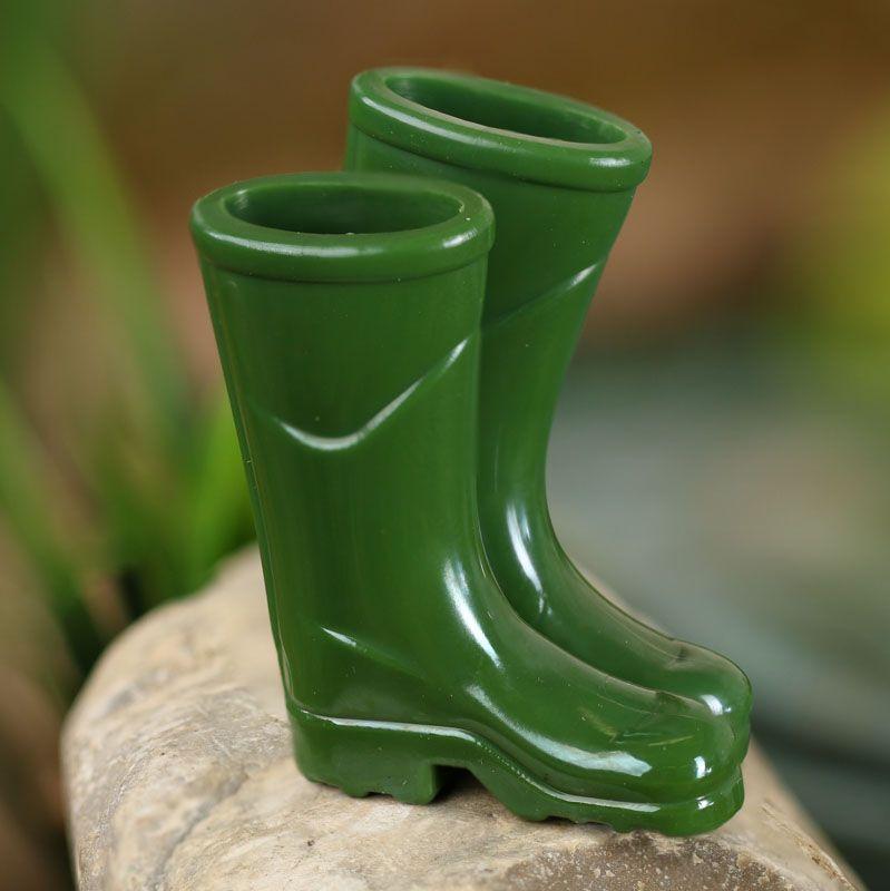 Miniature Dollhouse FAIRY GARDEN Accessories ~ Black Rubber Rain Work Boots NEW