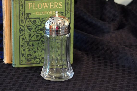 Glass andSilver Sugar Shaker  Vintage Muffineer  by PearlsParlor