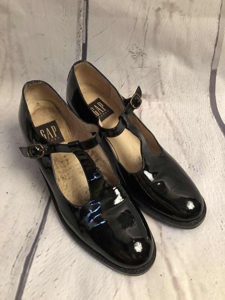 e29f446524 Gap Shoes Womens Black Patent Leather T-strap Mary Jane Heels 8.5 | eBay