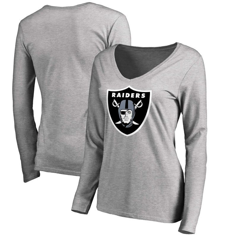 Oakland Raiders NFL Pro Line Women s Primary Logo Long Sleeve T-Shirt -  Heathered Gray 95a6d1828