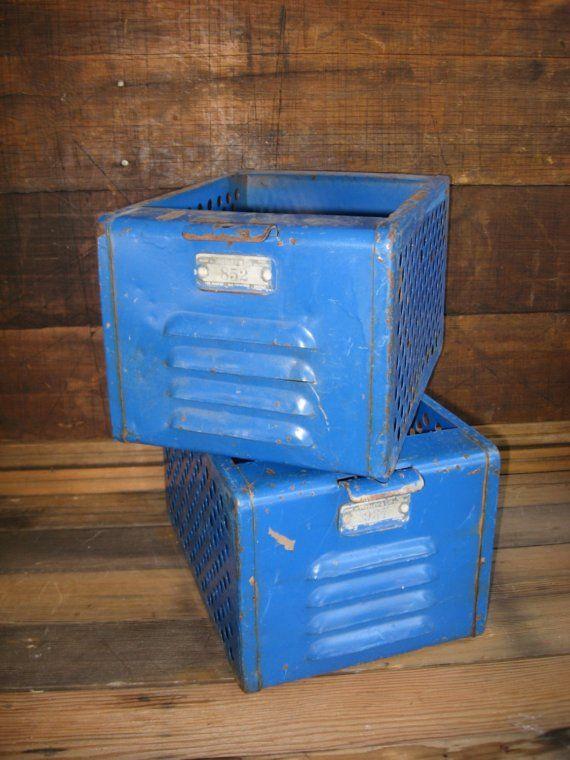 Vintage Blue Locker Baskets by greatfindz on Etsy