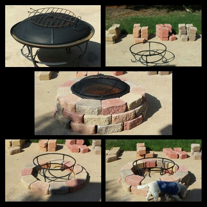 Inexpensive firepit & bricks. Took about 30-45 minutes to ...