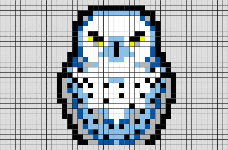 Pixel Art De Hedwige Pixel Art Harry Potter Pixel Art
