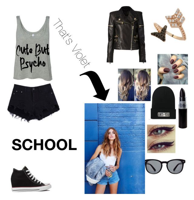 """""""Violet Outfit For School"""" by passion-m on Polyvore featuring Converse, Bee Goddess, Balmain and Dolce&Gabbana"""
