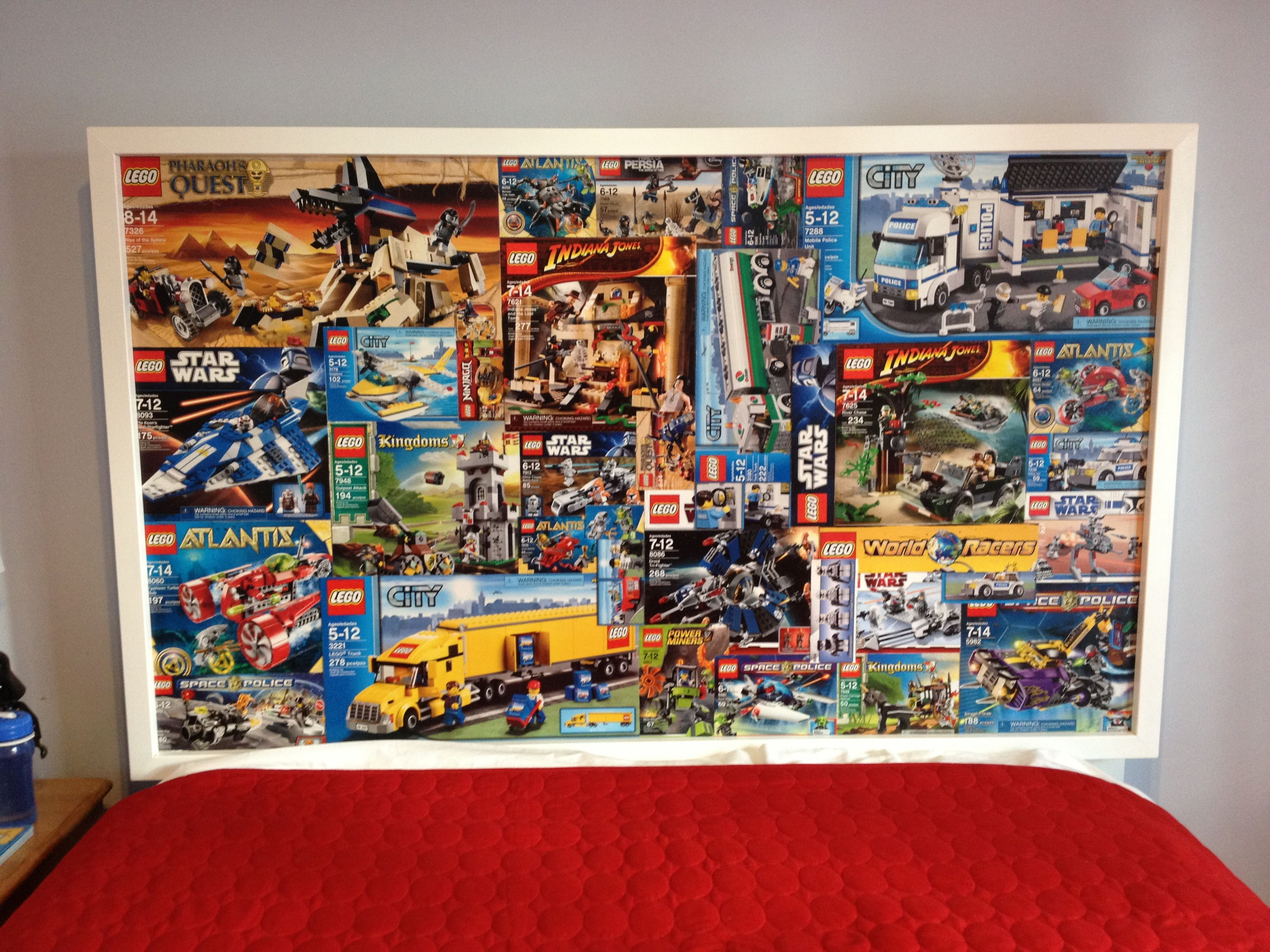 lego headboard for my lego maniac sons room made from his lego boxes