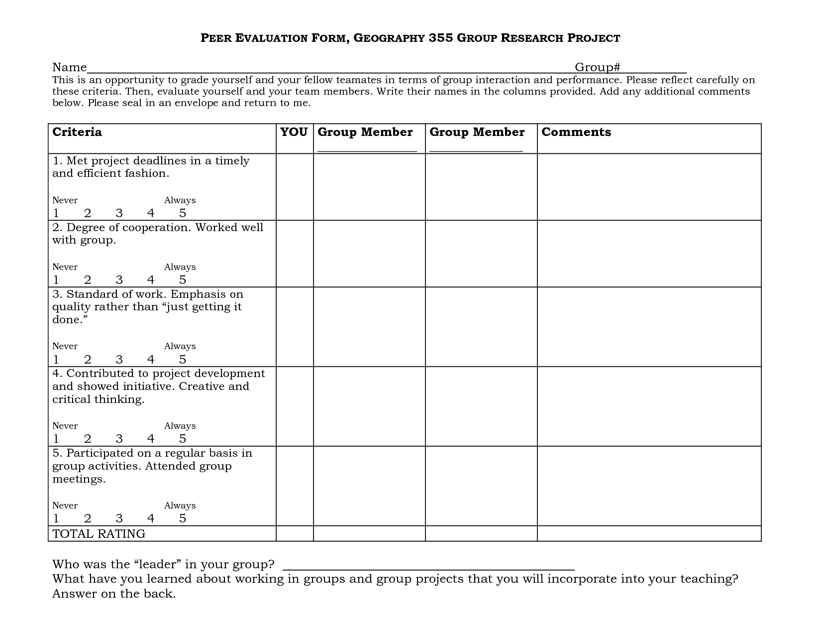 Group Project Peer Evaluation Form With Images