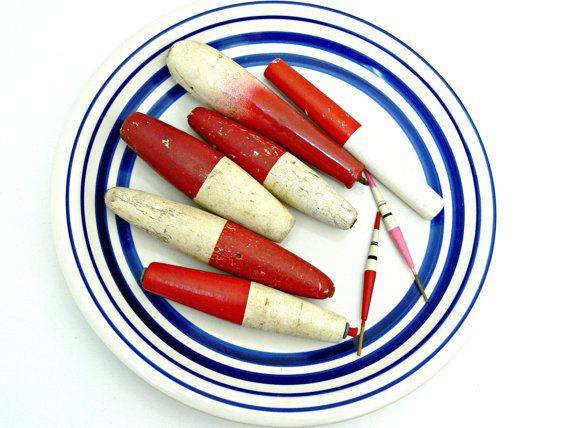 Wooden Vintage Fishing Bobbers And Floats Red White