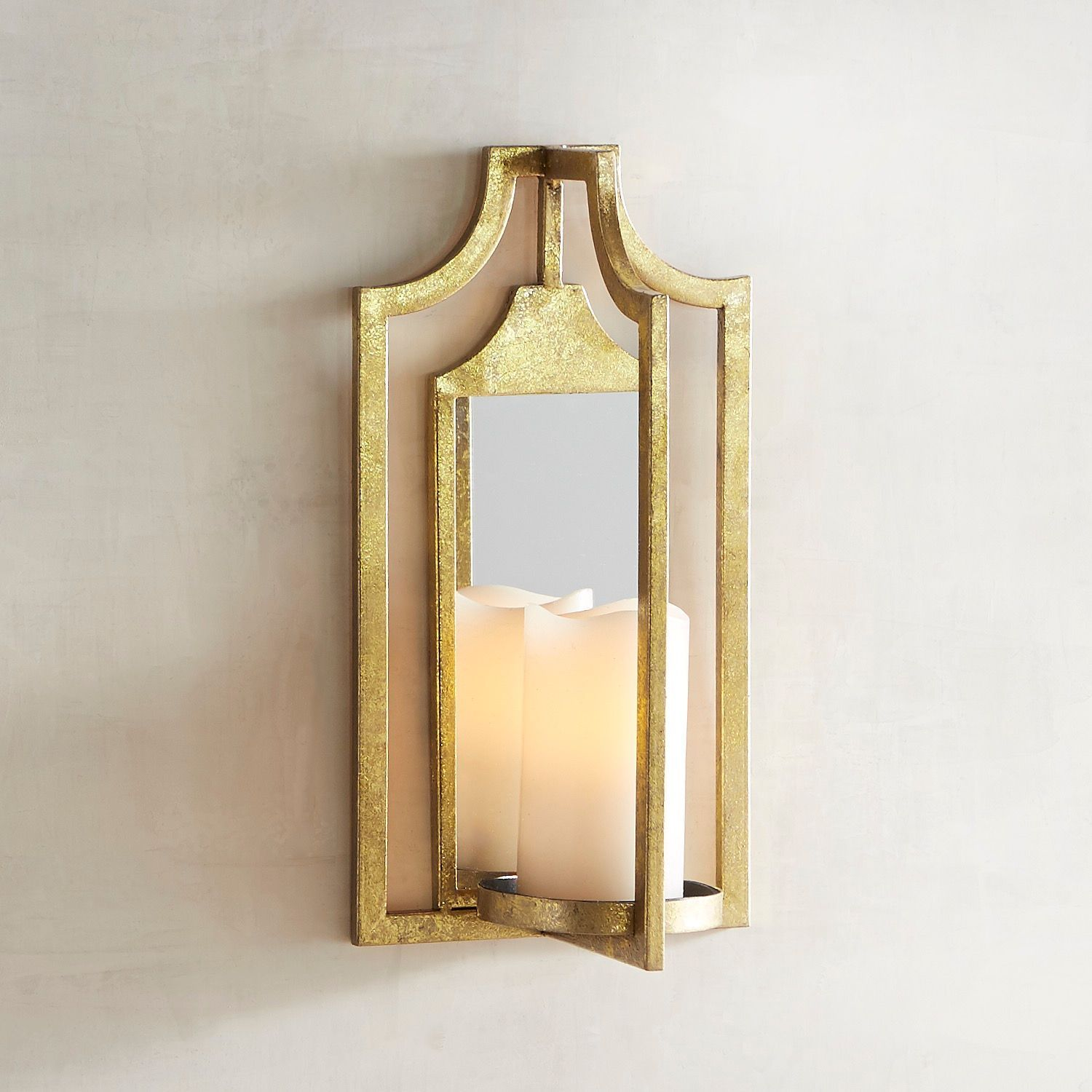 Wooden Vintage Style Antique Pewter Iron Hurricane Candle Holder Wall Sconce