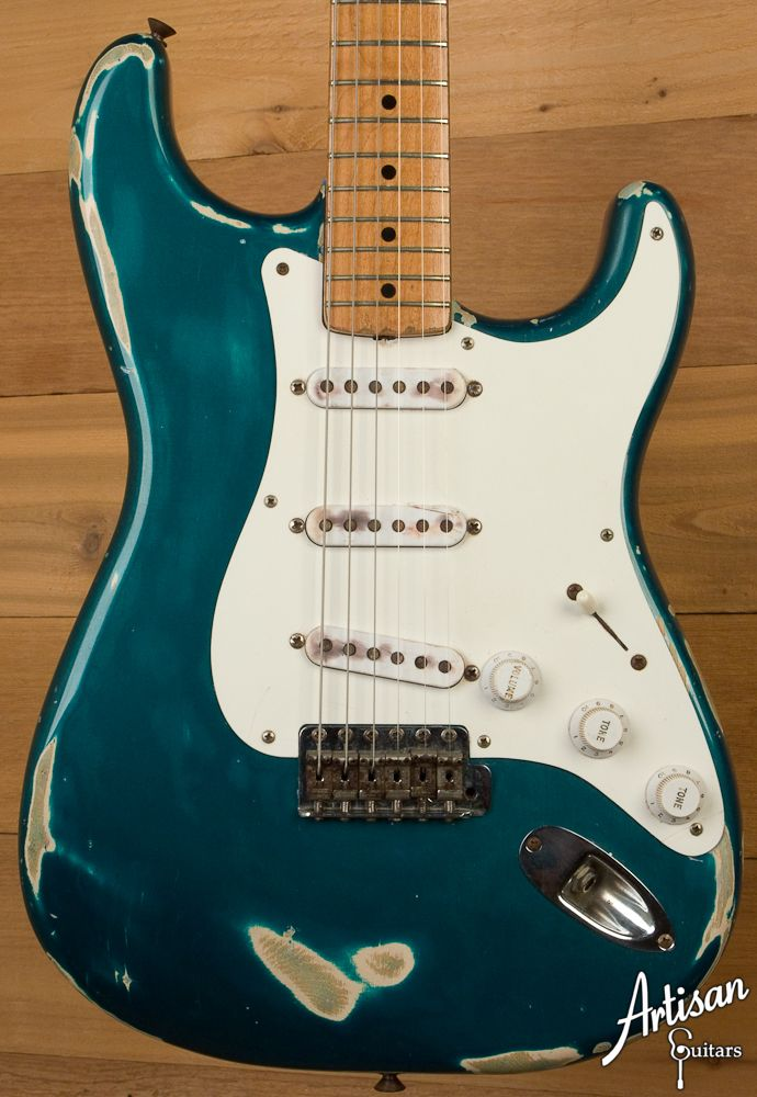 1956 Fender Stratocaster Custom Colored Sherwood Green Fender Stratocaster Stratocaster Guitar Vintage Electric Guitars