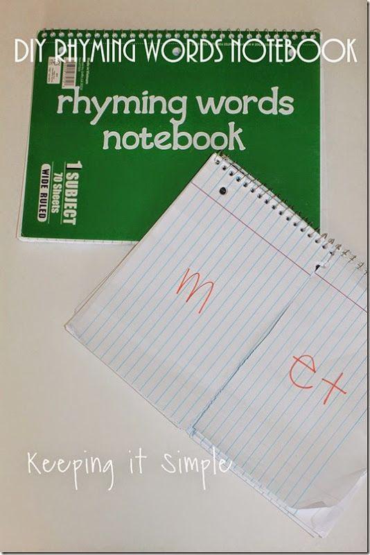 Teach Kids How To Rhyme With Diy Rhyming Words Notebook Keeping It Simple Rhyming Words Teaching Kids Rhymes For Kids