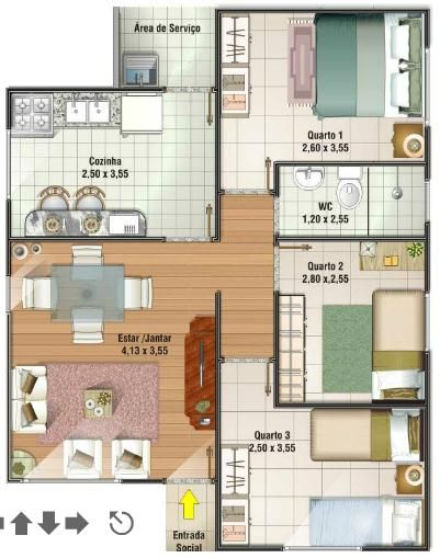 Plano De Casa De 67m2 Y 3 Dormitorios Planos De Casas Planos De Casas Sencillas Casas