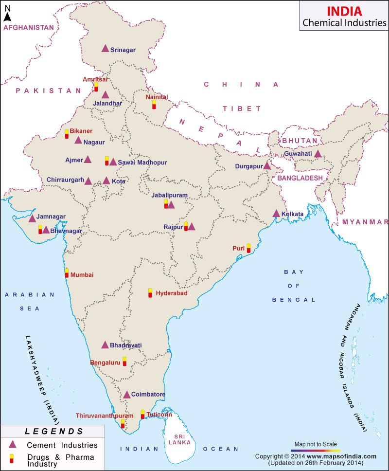 industrial map of india upsc Map Of Major Chemical Industries In India India Map Map industrial map of india upsc