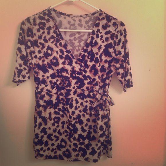 Leopard print shirt Vneck dress shirt in good condition. Merona Tops Blouses