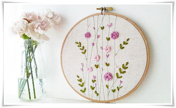 Ribbon Embroidery hoop wall art - Pink Rose Garden Spring #craftsaleitems