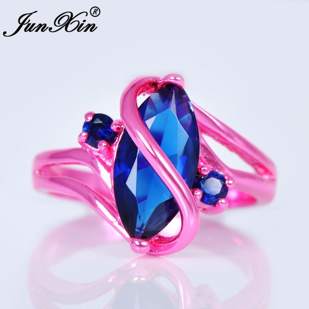 JUNXIN Male Female Blue Ring Cute Pink Gold Filled Vintage Wedding ...