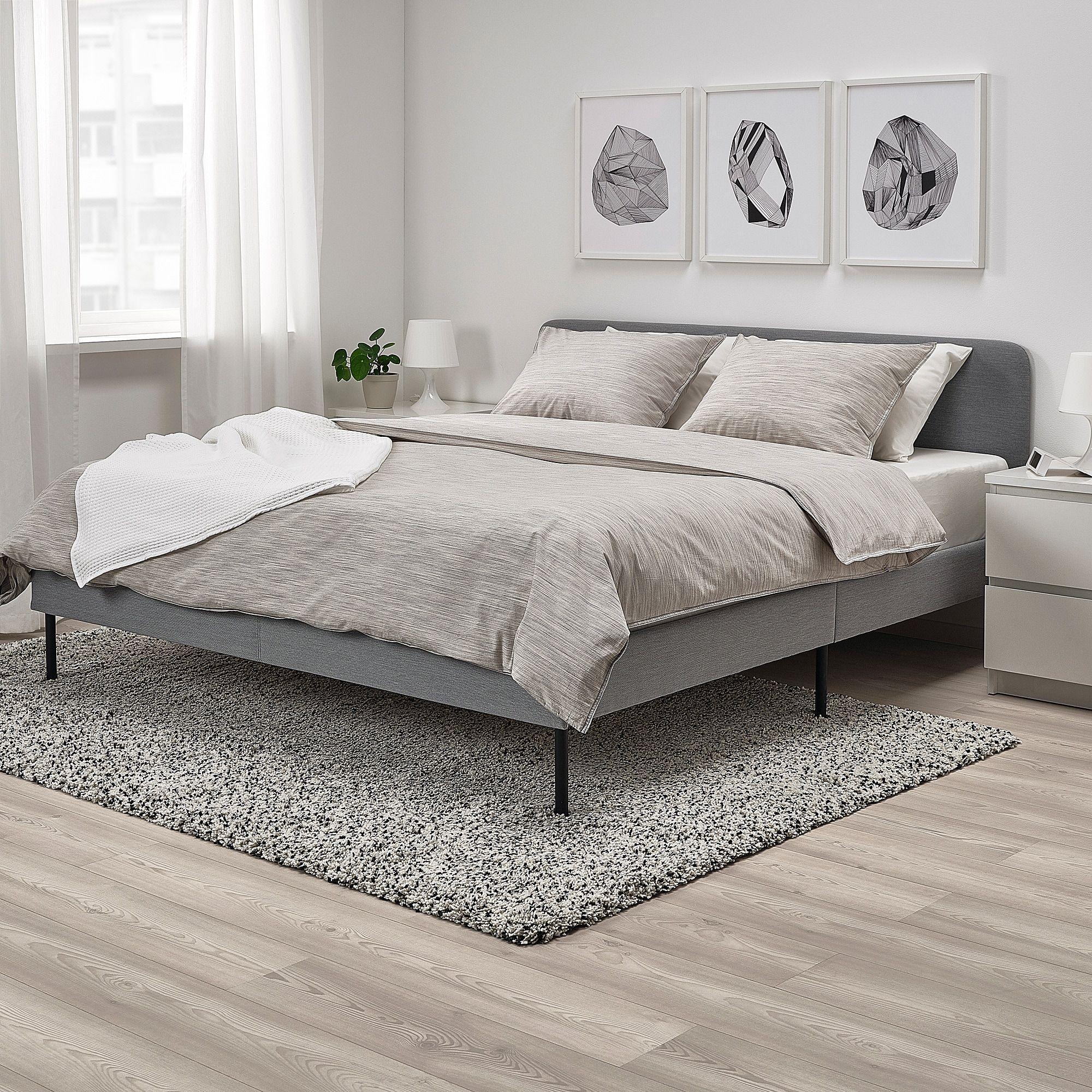 Slattum Upholstered Bed Frame Knisa Light Gray Full Grey