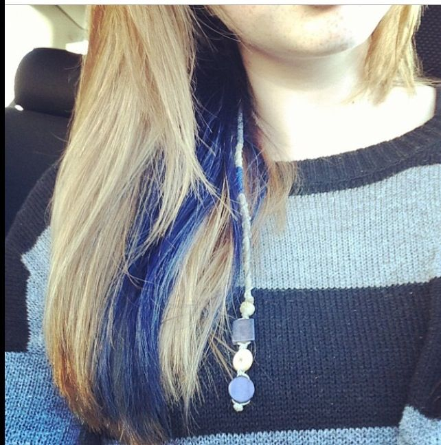 Strawberry Blonde Hair With Blue Peek A Boo Highlight And Hair Wrap