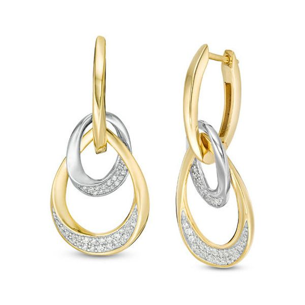 1 3 Ct T W Diamond Oval Twist Doorknocker Drop Earrings In 10k Two Tone Gold Diamond Studs Oval Diamond Drop Earrings