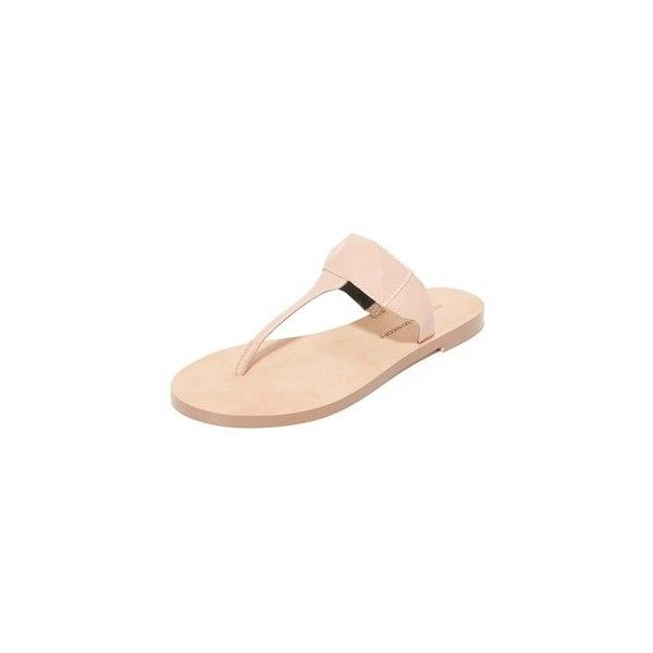 Rebecca Minkoff Eloise Thong Sandals ($59) ❤ liked on Polyvore featuring shoes, sandals, nude, nude low heel sandals, toe thongs, low heel thong sandals, rebecca minkoff sandals and toe thong sandals