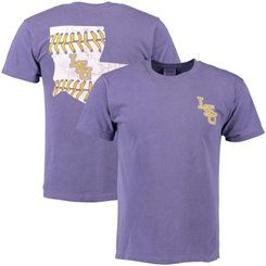 low cost 04e2d 8c778 Men s Purple LSU Tigers Baseball Laces State Comfort Colors T-Shirt