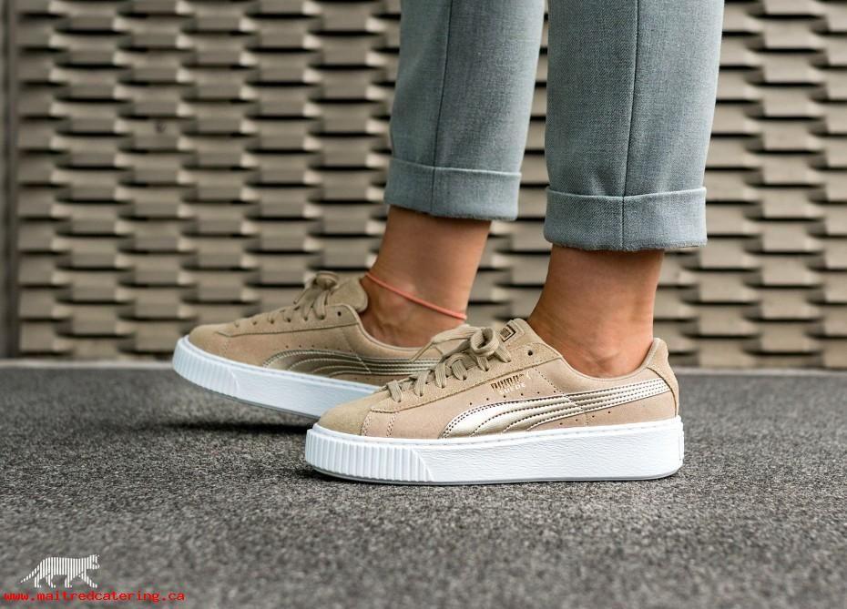 Frauen Puma Sneaker Schwarz Puma Suede Platform Safari