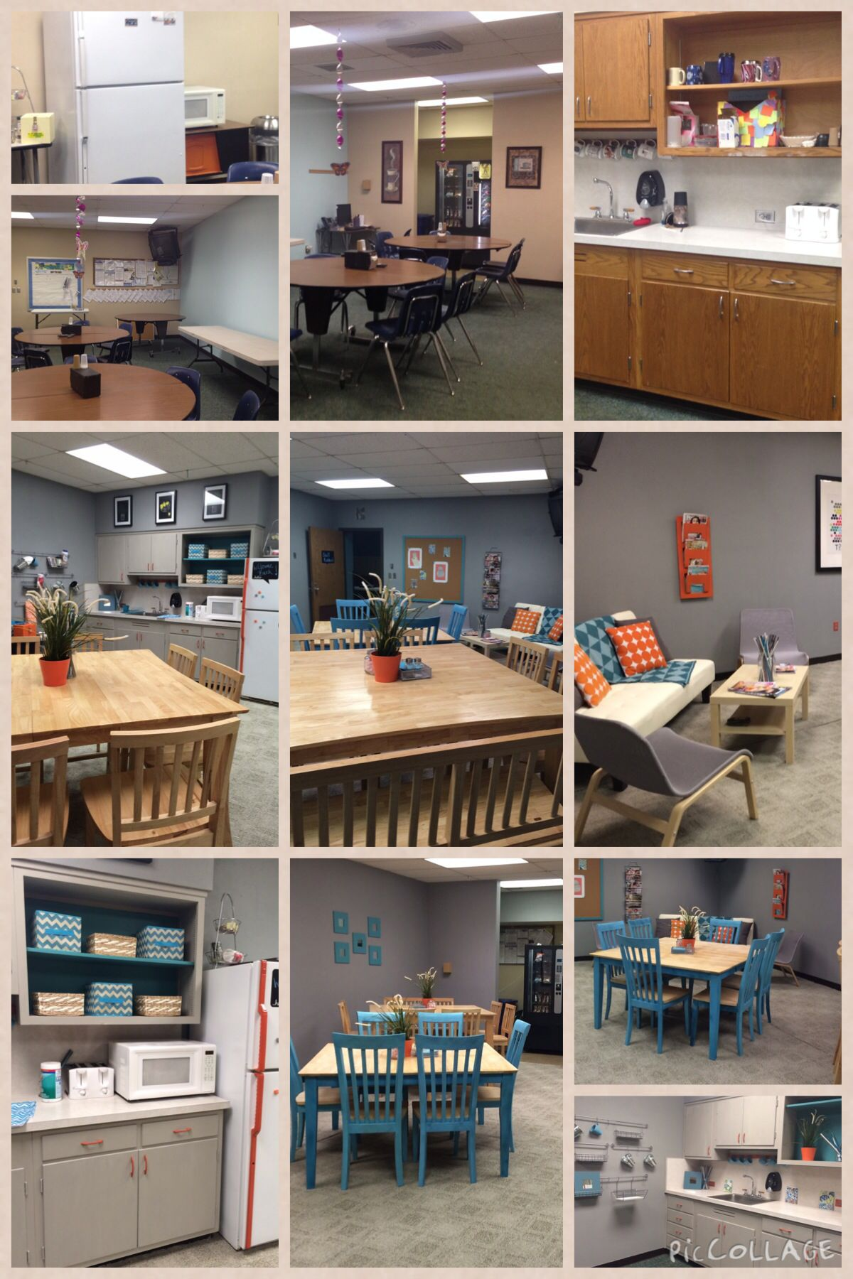 Teachers lounge before and after makeover completed pins for Lounge makeover ideas