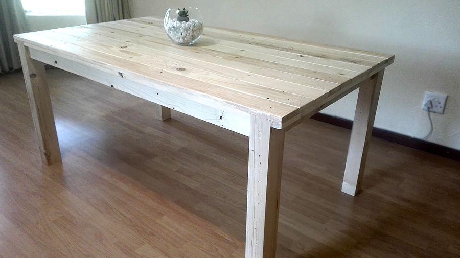 Custom Made Rustic Pallet Pine Dining Table Raw Sealant Finish