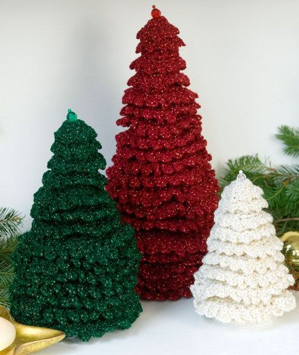 Ruffle Fir Trees ~ Red Heart Pattern