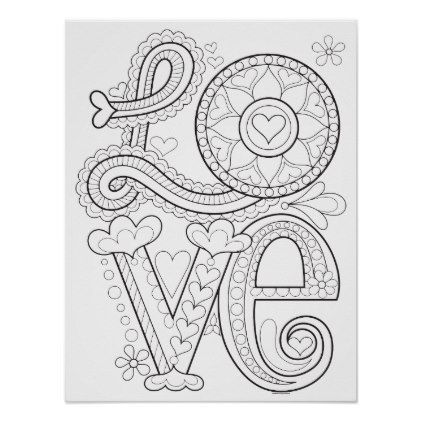 Love Coloring Poster Colorable Love Art Poster Zazzle Com