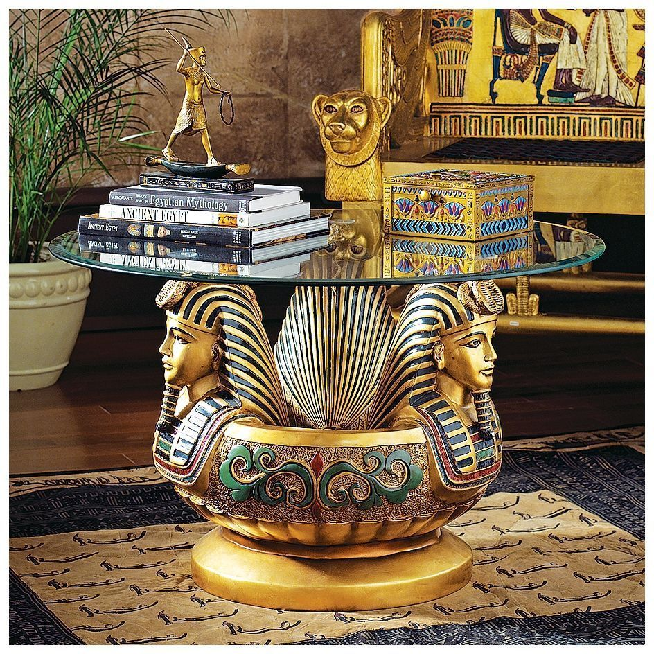 Ancient Egyptian Pharaoh Tutankhamen Sculptural Glass Top Cocktail Table Cocktail Table Basse Ronde En Verre Patio En Bois Mobilier De Salon