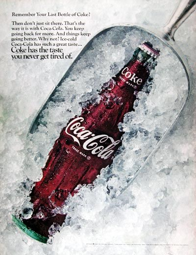6a3bf2cdc78 1968 Coca Cola original vintage advertisement. Remember your last bottle of  Coke  Then don t just sit there. That s the way it is with Coca Cola.